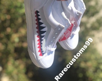 e2d7b183650 White shark teeth bape old skool vans customs