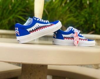 ab154254ede5 blue old skool bape vans custom shark teeth