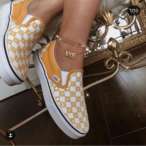 Lv yellow checkerboard slip on vans customs  4ed6e535f