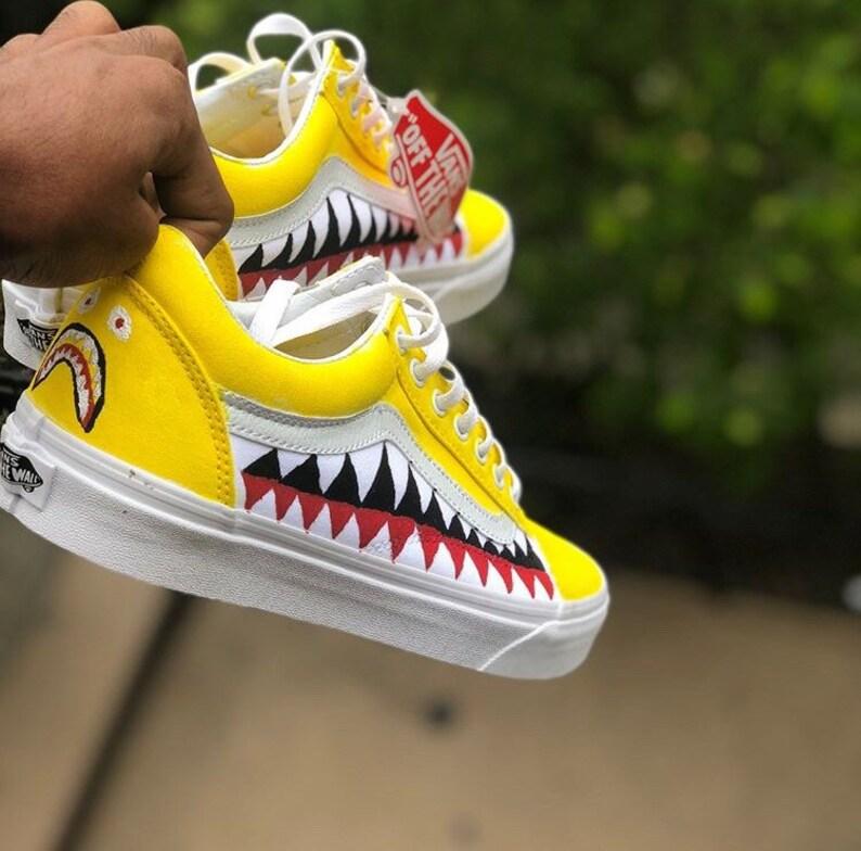 ebb3561d3e Yellow old skool bape vans shark teeth