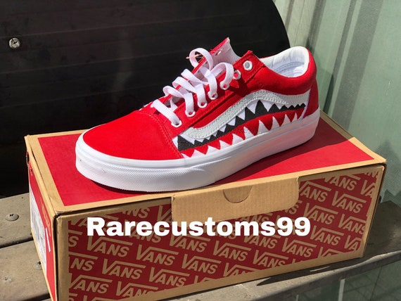 8da1053f15d3d7 Red old skool bape vans shark teeth customs
