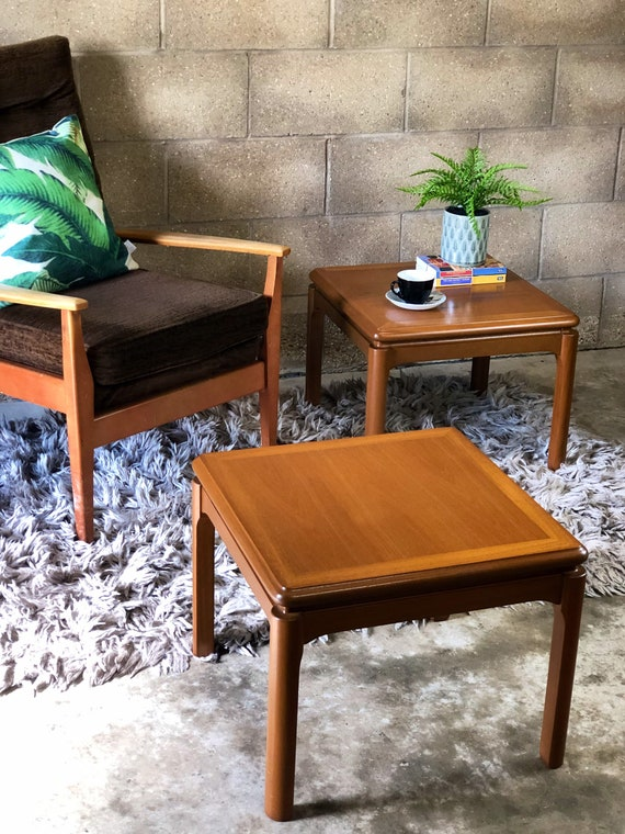 A Vintage Pair of Nathan Coffee/Side/Lamp/End/Bedside Tables