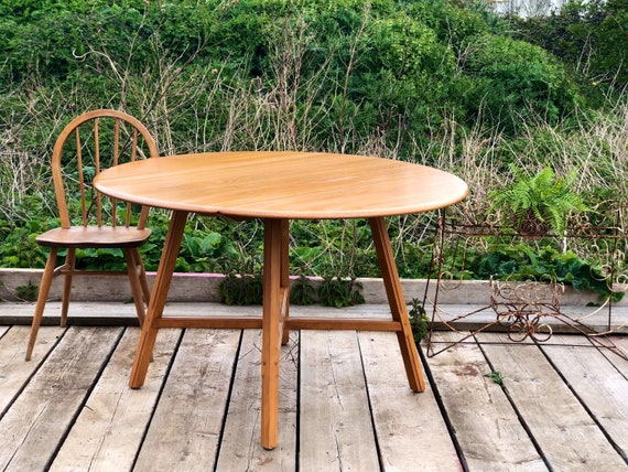 Ercol's Almost Round Drop Leaf Table Model 377