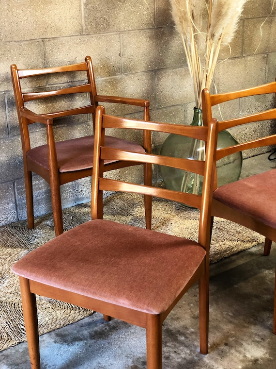 A Set of 3 Vintage Danish Style Mid Century Chairs with Soft Dusky Pink Seat