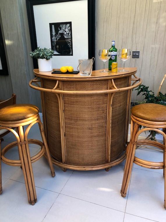 Vintage 70s Bamboo Tiki Cocktail Bar and Stool Set