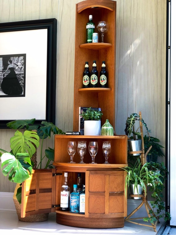 Vintage Bow Fronted Nathan High Corner Cocktail Storage Cabinet