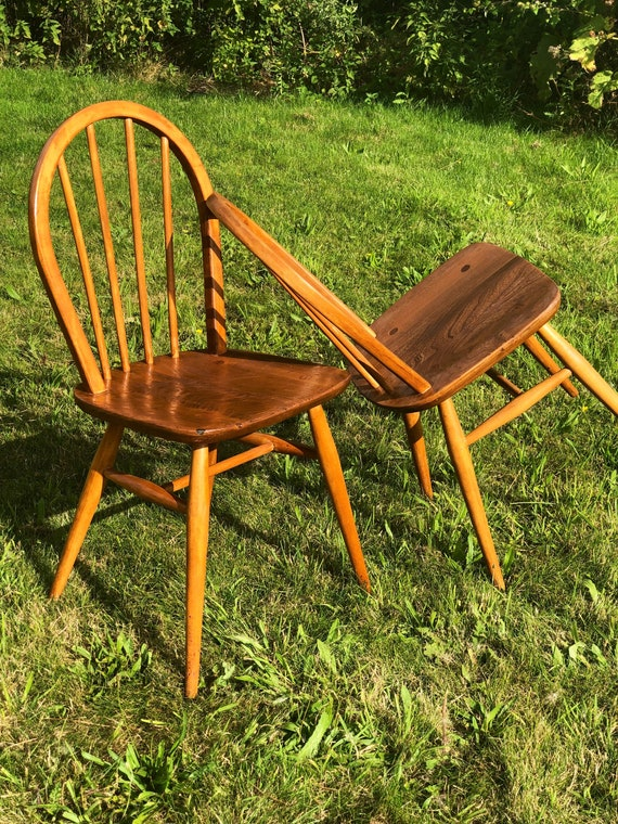A Pair of Ercol Vintage Windsor Chairs Model 400