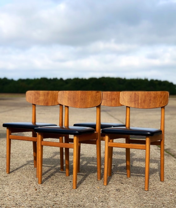 A Vintage Set of Four Mid Century Danish Style Dining Chairs 1960s