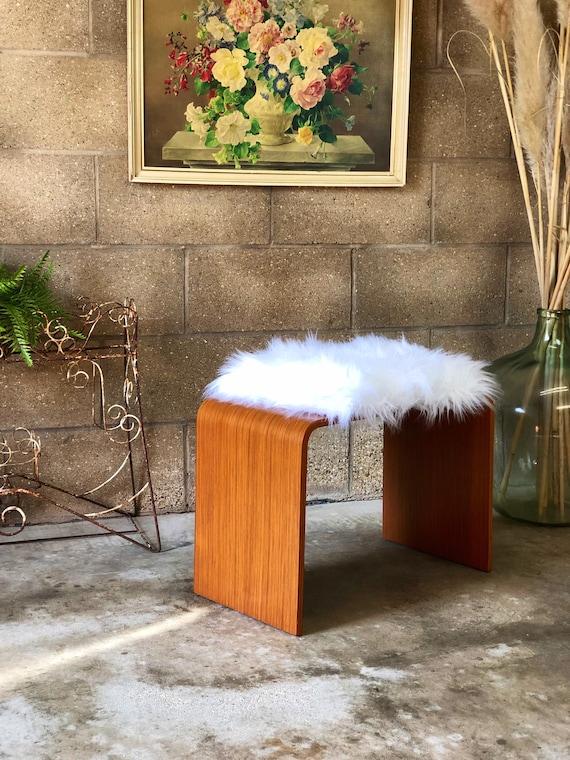 A Reupholstered Fluffy Vintage Schreiber Dressing Table Stool