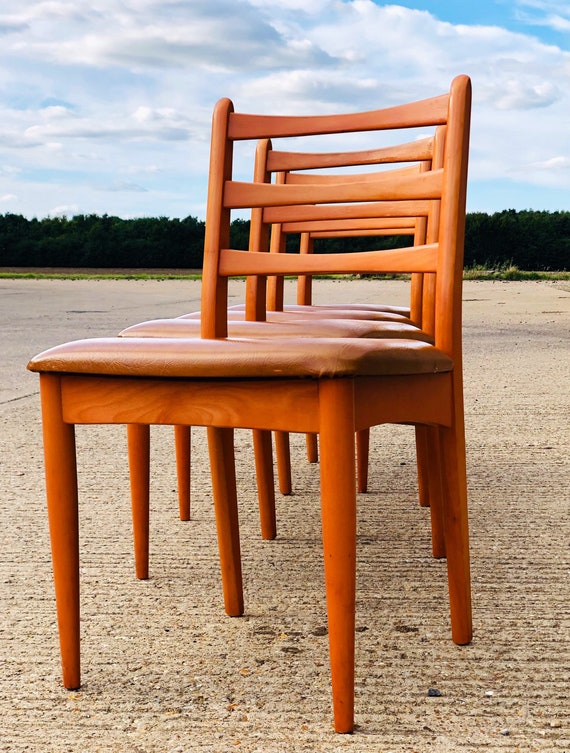 Four Schreiber Dining Chairs with Original Tan Leatherette - Vintage 70s /80s
