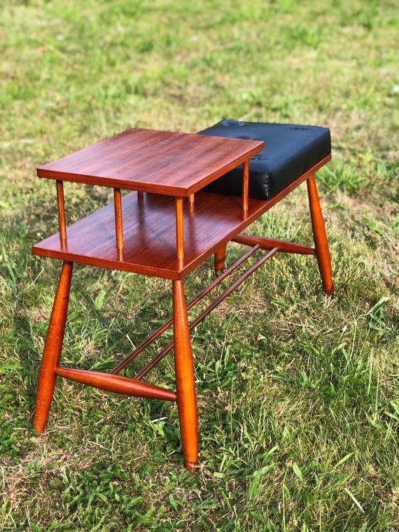 Mid Century Ercol Style Telephone Hall Table with Seat