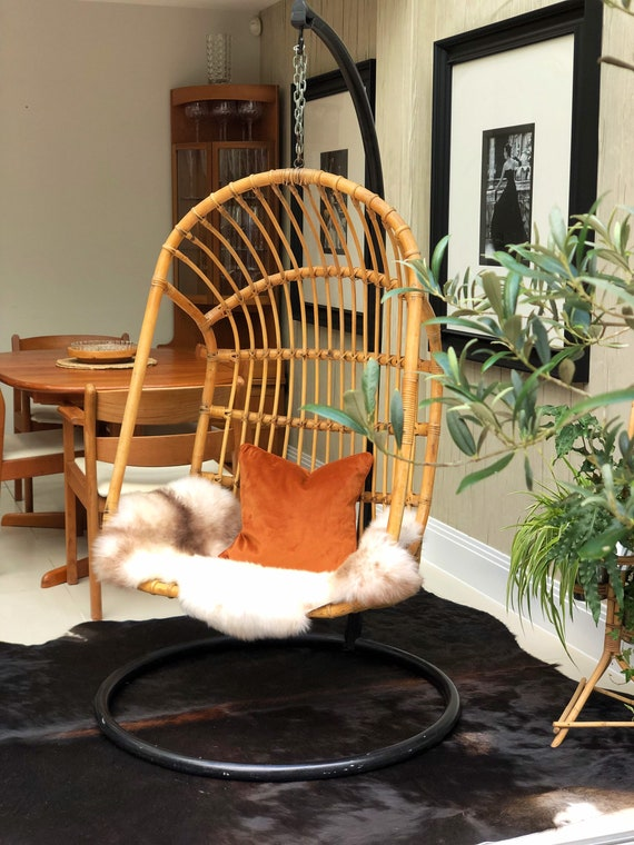 Vintage Bamboo Hanging Egg Shaped Chair