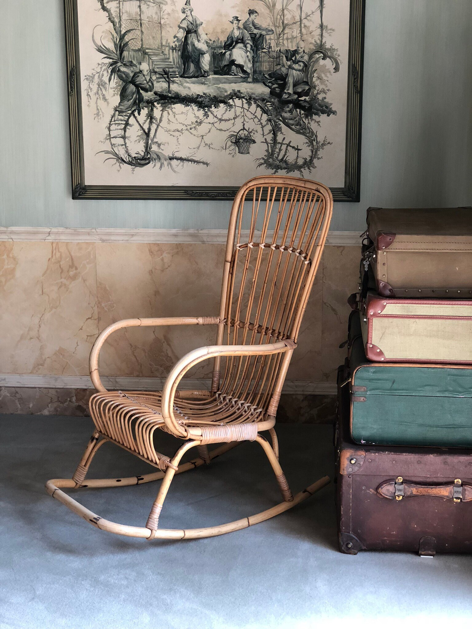 Awesome Vintage Bamboo Rocking Chair Attributed To The Italian Gmtry Best Dining Table And Chair Ideas Images Gmtryco