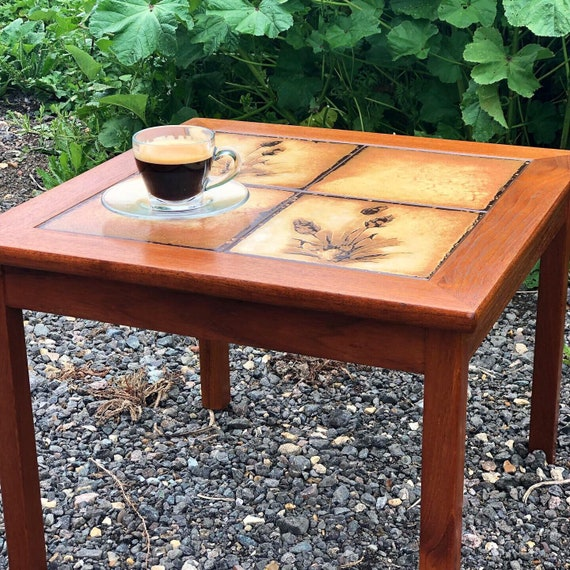 Made In Denmark, Vintage Mid Century Coffee/Side Table Tiled Top Designed by P H Poulsen