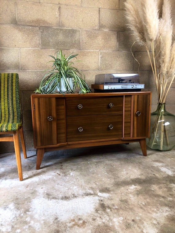Mid Century Storage/Dressing Table/Cabinet with Drawers and Detachable Mirror