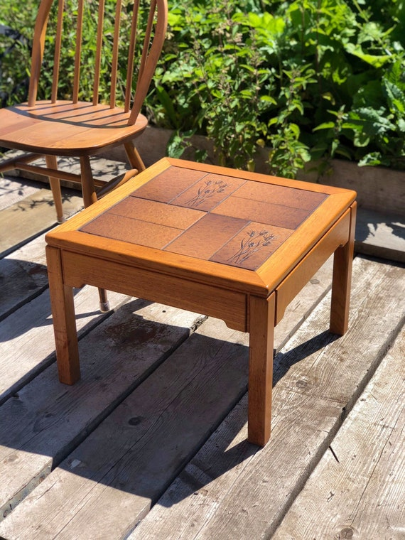 A vintage Danish Square Tiled Top Low Coffee/End Table