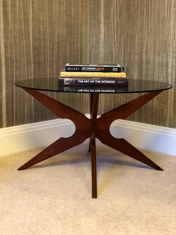 Spider Smoked Glass Teak Coffee Table