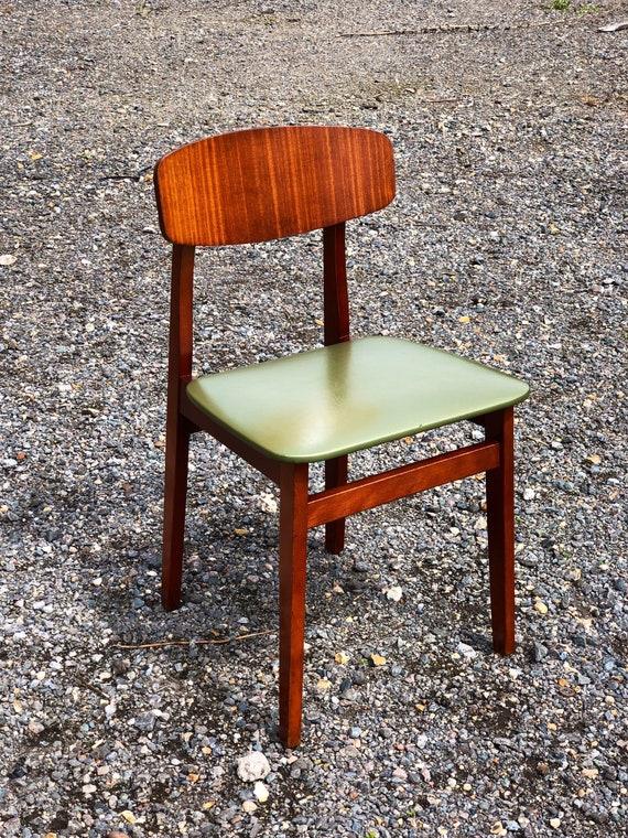 An Original Set of Four Vintage Green Vinyl Kitchen Dining Chairs