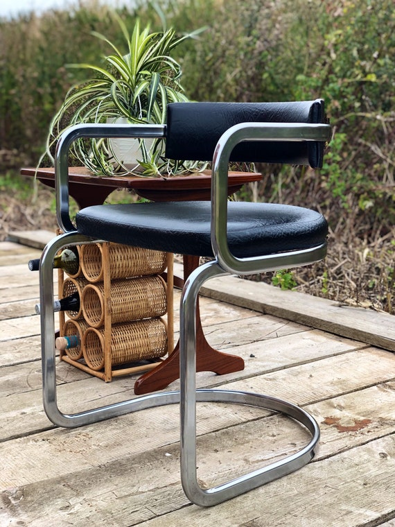 Chrome and Black Leather Mid Century Desk Office Chair