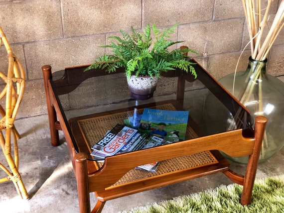 MCM Guy Rogers Floating Smoked Glass Square Coffee Table with Cane Magazine Rack