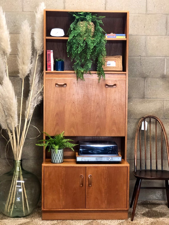 Illuminated 70s G Plan Media Cabinet with Pull Down Cocktail Cupboard and Shelves