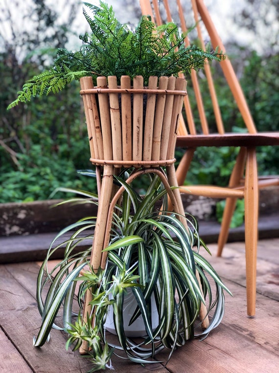 60s Vintage Bamboo Plant Display Stand