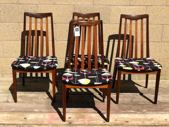 """Vintage G Plan Fresco set of 4 Kitchen/Dining Chairs - Reupholstered in Sandersons """"Mobiles"""" Fabric."""