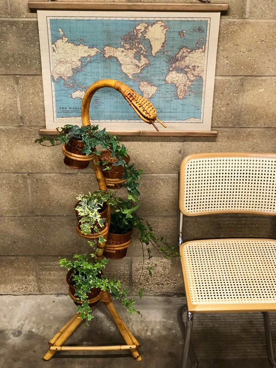 Sixties Bamboo Snake Planter - RARE & Complete!
