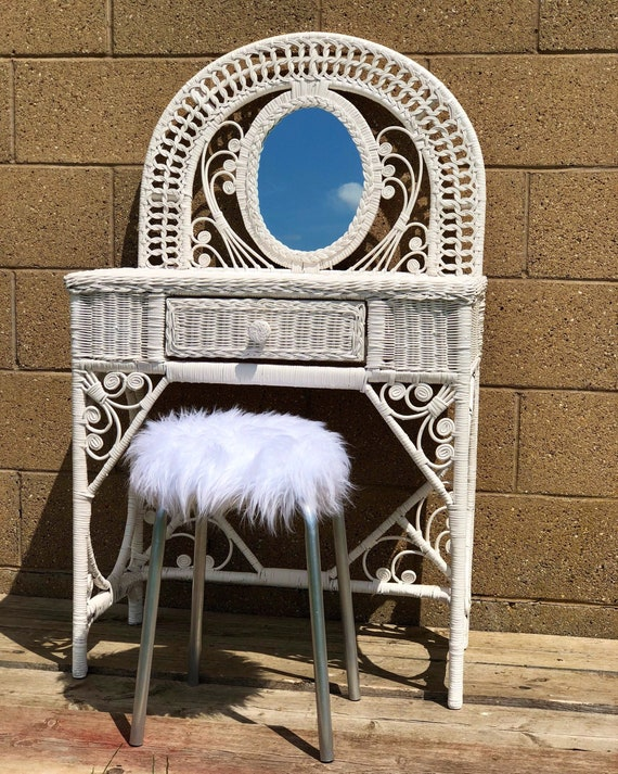 White Bamboo Dressing Table With Mirror and Faux Fur Vintage Stool
