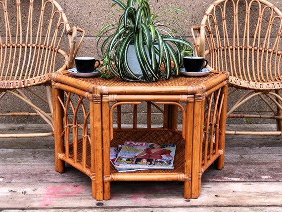 MCM Bamboo Hexagonal Two Tier Coffee Table
