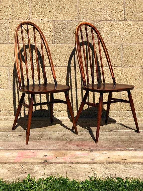 Vintage Ercol Windsor Hooped Back Chairs Model No 365