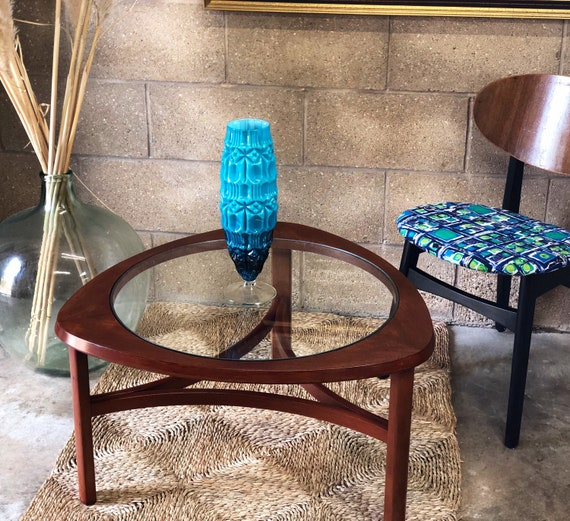 Mid Century Nathan Triangular Glass Topped Coffee/End Table