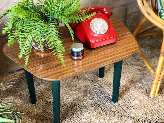 "Vintage Teak Veneer Compact Coffee/Plant/Bedside Table with ""Angelica"" green painted legs by Craig & Rose."