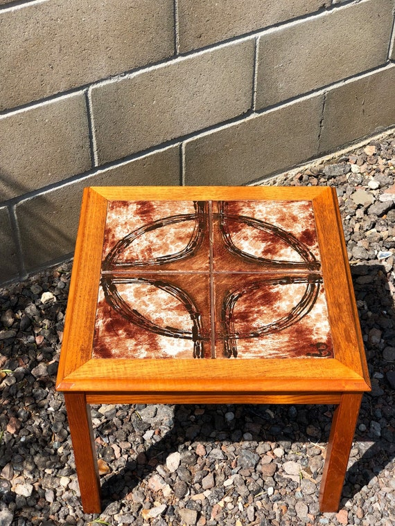 Danish Coffee Table with abstract, retro, hand made, 60/70s tiles signed B