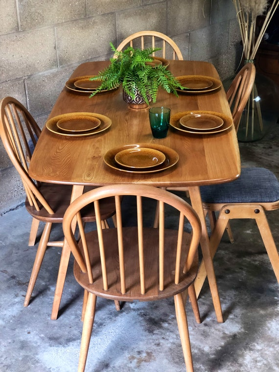 60s Ercol Blond Plank Kitchen/Dining Table/Desk