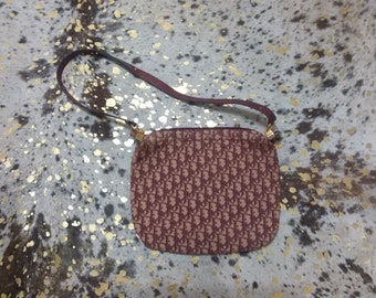 Vintage 80s Christian Dior Burgundy and tan shoulder bag 9b33ccb27aef3