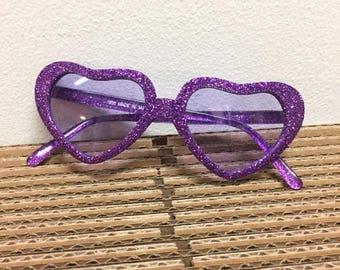 49b9560b63c Heart Sunglasses Purple glitter frame and tinted lenses sunnies shades 90s  vintage