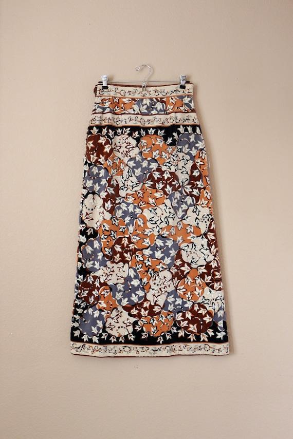 Pucci Skirt, Velvet Maxi Skirt, Long Skirt, 70s Vi