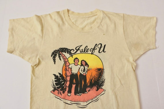 70s t shirt, 70s distressed tee, 1970s Isle of You