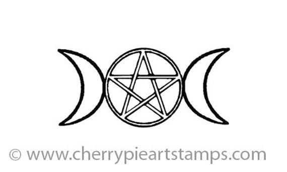 Triple Moon Symbol Goddess Pentacle Celtic Cling Rubber Etsy