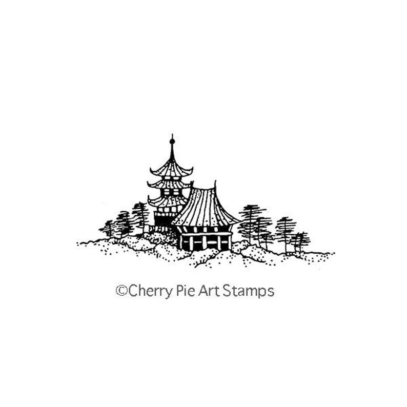 CLING RuBBer STAMP by Cherry Pie G263 Asian landscape