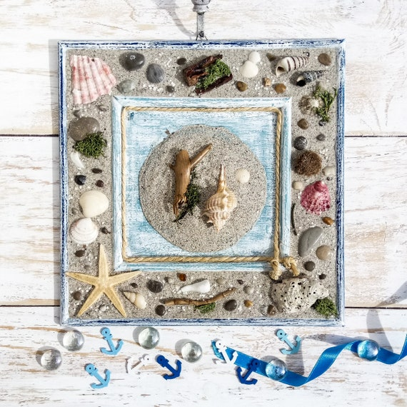 Beach Cottage Style Decor Coastal Living Room Nature And Beach Lover Decor Art Shell And Seashell Frame For Christmas Gifts