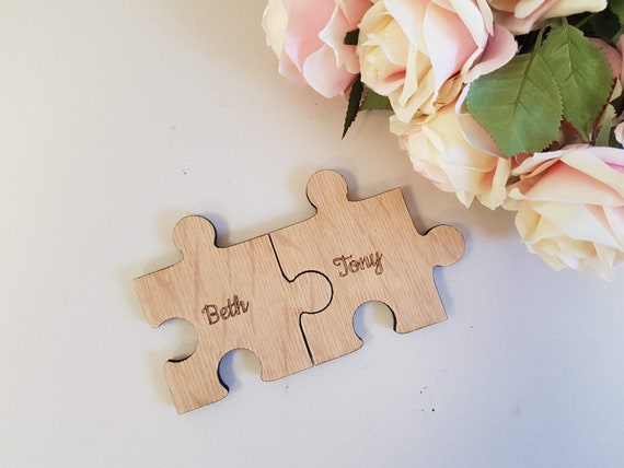 Personalised Jigsaw Wooden Puzzle Piece Family Coasters