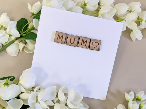 Mum Card with Wooden Magnetic Letters