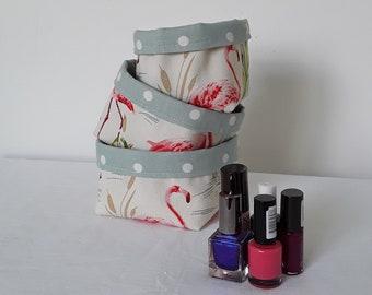 Set of 3 fabric baskets, flamingo baskets, storage baskets