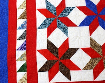Incredible Scrap Star quilt w/ sawtooth border details FINISHED QUILT - WOW !!