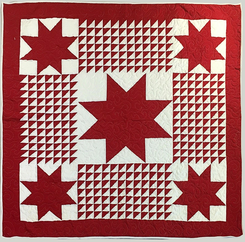 Red /& White Friendship Star variation Graphic FINISHED QUILT
