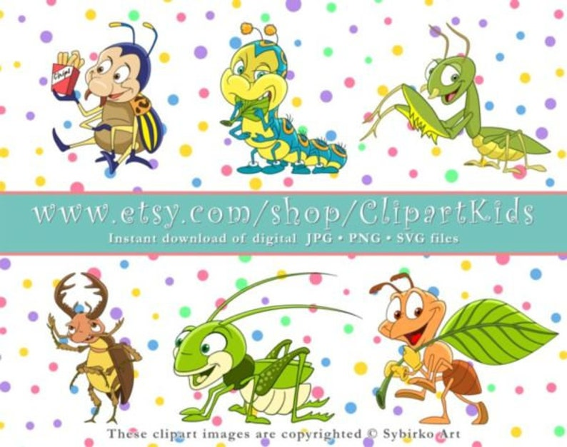 Bug Clipart  Beetle Clipart  Cute animal clipart  Cartoon clipart set   Digital clipart  Jpg, Png, Svg cricut files  Instant download  SET152