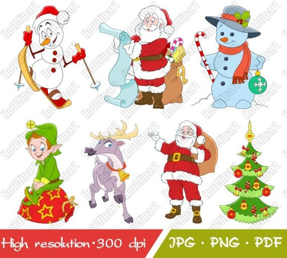 Christmas Illustrations Png.Christmas Clipart New Year Clipart Holidays Collection Cartoon Kids Illustrations Digital Graphic Instant Download Printable Jpg Png