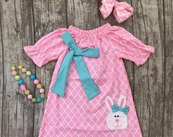 Girls Pink Easter Bunny Dress with Accessories